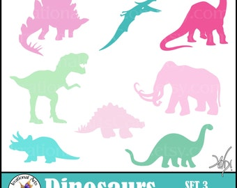 Dinosaur Sillhouettes Set 3 - PINK and TEAL and GREEN - 8 digital clipart png files {Instant Download}