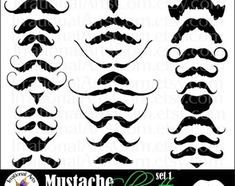 Mustache Love set 1 digital graphics with 28 mustaches and goatees INSTANT DOWNLOAD fun little man big man manly facial hair