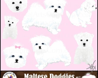 Maltese doggies set 2 - 7 gorgeous full color Maltese dogs with a pink bow {Instant Download}