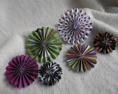 Paper Rosettes...6 Piece Set of Very Chic and Scary Halloween Theme Scrapbooking Paper Flower Rosettes