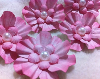 Scrapbook Flowers...6 Piece Set of Very Sweet Shabby Chic Pink Camilla Scrapbooking Paper Flower Embellishments