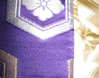 Gorgeous Purple Gold and Silver Silk Obi