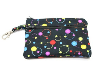 Larger Zippered Wallet Change Purse Gadget Case Black with Colorful Dots and Circles