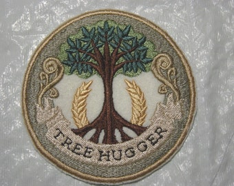 TREE HUGGER for CONSERVATION Embroidered Iron on Patch - 2 sizes available - Free Shipping