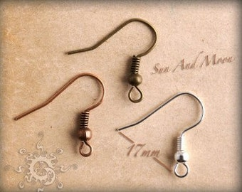 10 Piece -French Fish Hook Earwires - 17mm Silver, Bronze, Copper and Gunmetal-Fish Hook With Spring and Ball Earwire