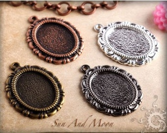 20 Pieces Small Vintage Earring Pendant Setting Vintage Design Setting Earring Small Pendant Oval Filigree Tray Glass Cameo Setting