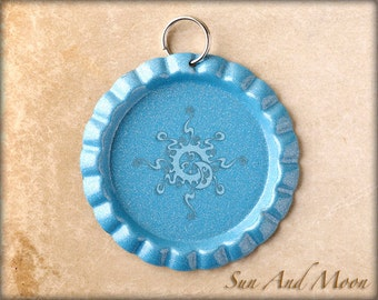 20 ~ Baby Blue Flattened Bottle Caps ~ Split Ring Attached ~ Great With Our 1 Inch Circle Resin Drops ~ Linerless Caps