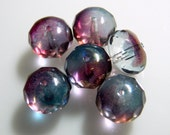 Czech Waterfall 9x14mm Faceted Fire Polished Glass Rondelle Beads (6)