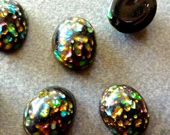 Vintage Japanese Black Cherry Brand Fancy Foil Flat Back Oval Glass Stone/Cabochon 10x8mm (2)