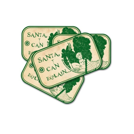 Folk Style Christmas Tags, Green Christmas, Santa I can Explain, Let it Snow Tag, Oh Tannenbaum Tag, Figgy Pudding Tag