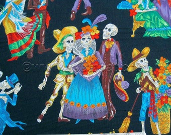 Alexander Henry PASEO de LOS MUERTOS, Black, Day of the Dead, Skeletons Cotton Quilt Fabric - by the Yard