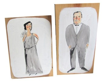 Classy lady and gent, painted on wood