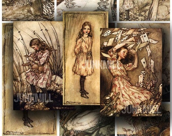 ALICE IN WONDERLAND - Digital Printable Collage Sheet - White Rabbit, Mad Hatter Tea Party & Caterpillar by Arthur Rackham, Instant Download