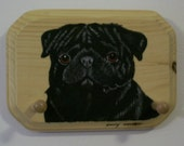 Wooden Leash/key Holder with a Black Pug