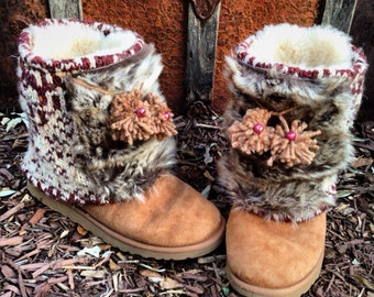 Sleigh Ride Boot Sweaters, Fair Isle Knit, Faux Fur, Jingle Bells, HUGs Boot Sweaters, Yarn Pom Pom Tassels, Boot Accessory ~ MADE TO ORDER