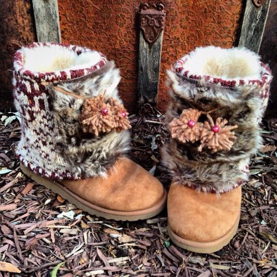 Sleigh Ride Boot Sweaters, Fair Isle Knit, Faux Fur, Jingle Bells, HUGs Boot Sweaters, Yarn Pom Pom Tassels, Boot Accessory ~ MADE TO ORDER