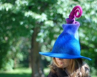 Adorable witch hat wizard hat in blue violet purple or choose custom colors