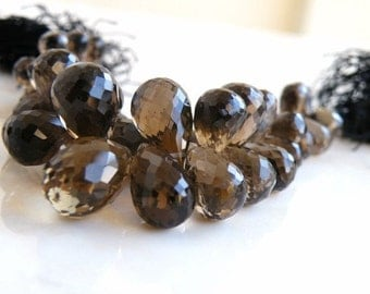 Smoky Quartz Gemstone Briolette Champagne Chocolate Brown Faceted 3d Teardrop 14.5mm 5 beads Matched