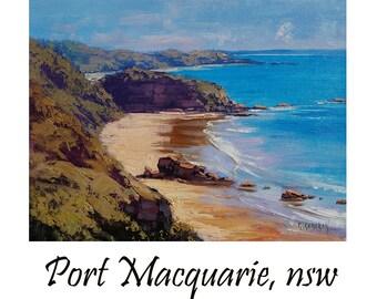 BEACH PAINTING COASTAL Seascape Port Macquarie Fine Art Oil By Graham Gercken
