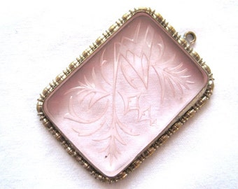 Vintage Art Deco Pendant - Pink Carved Glass
