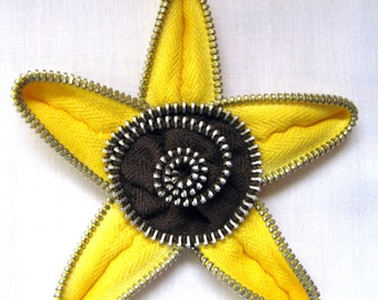Zipper Pin Yellow and Brown Repurposed Vintage Zippers