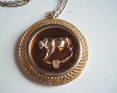 Goldtone Vintage Taurus Pendant Necklace