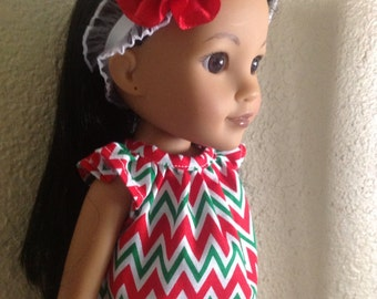 Christmas Chevron Dress for Corolle Les Cheries, Groovy Girl, Hearts for Hearts or Paola Reina
