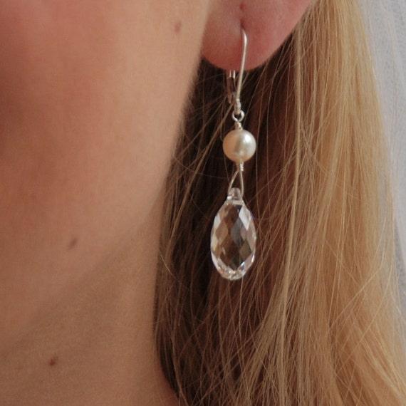 Crystal Bridal Earrings, Wedding Earrings, Bridesmaid, Swarovski Clear Crystal Briolette and Pearl in Sterling Silver - The Juliet Earrings