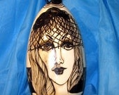 Black & White Ceramic VASE Beautiful Ladies Faces wearing Hats Hand painted  Sculpted Top on Etsy,