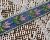 2 Yards Woven Turquoise And PInk Tiny Flowers Jacquard Trim