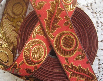 3 Yards Metallic Trim Jacquard Ribbon 1.25 Inches Wide Red And Gold