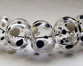 Black and White polka dot hollow lampwork bead set (5)