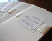 Book Program in Custom Colors, Fonts with Cover, 4 Pages and Ribbon for Wedding Ceremony - The Bistro Collection Sample