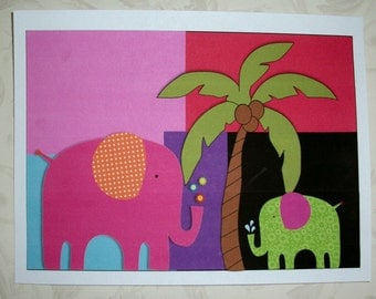 ELePHANTS - COLOR BLOCKING - Kids WaLL ArT - Choice of Sizes - Whimsical - Primary Colors - CBWA 88498