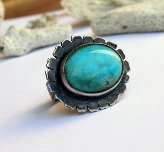 Reserved Listing For Liane - 30% SALE December Birthstone Turquoise Ring Statement Ring  Handmade Oxidized Sterling Silver Ring