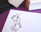 Heartstrings Custom Rubber Wedding Stamp