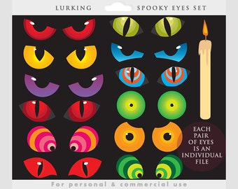 Halloween clipart - spooky eyes clip art, monster eye, lurking in the dark, creepy, scary, hallowe'en, for personal and commercial use
