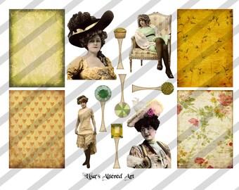 Digital Collage Sheet Vintage Lady Images Postcard ATC Images (Sheet no. O81) instant Download