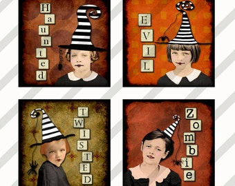 Digital Halloween Collage Sheet  Altered Art Slide Images  1.5 X1.5   Halloween Images (Sheet no.FS197) Instant Download