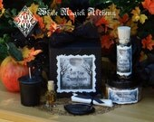 Samhain Veils Edge Ritual Kit . With Candle, Black Obsidian Scrying Stone, Sparkling Spells, Ritual Oil and More