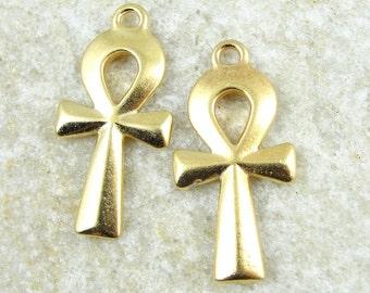 2 Ankh Pendants 31mm Gold Pendants - Bright Gold Eygptian Ankh Pendants TierraCast Pewter Egypt Ankh Charm (P872)