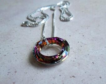 Sterling Silver Swarovski Cosmic Ring Crystal Necklace