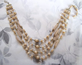 vintage 4 strand glass connector bead necklace - j5264