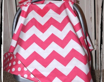 CHEVRON SALE 30%  OFF Large Pink Chevron Carseat Canopy- Ready 2 Ship