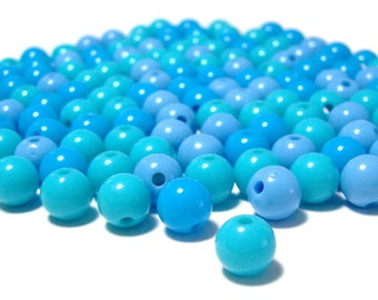 8mm Smooth Round Acrylic Beads Blue mix 100pcs