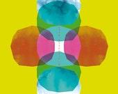 Green Cross Journey Bright Geometric Archival Quality Art Print - small and medium size