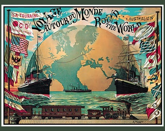 Tour of the World Refrigerator Magnet - FREE US SHIPPING