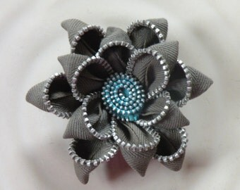 Grey Recycled Vintage Zipper Brooch or Hair Clip