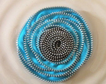 Blue Recycled Zipper Brooch or Hair Clip