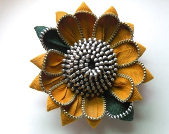 Sunflower Vintage Zipper Flower Brooch or Hair Clip